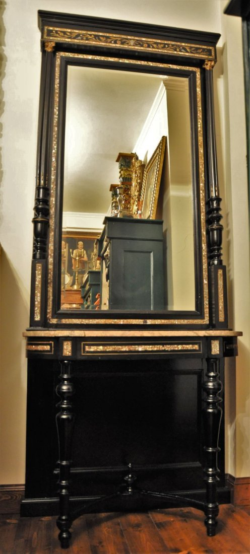 Hand carved black painted wooden table and mirror