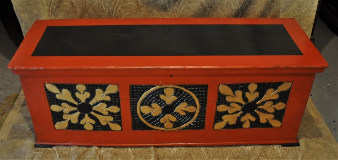 Hand carved storage wooden box painted in black and red
