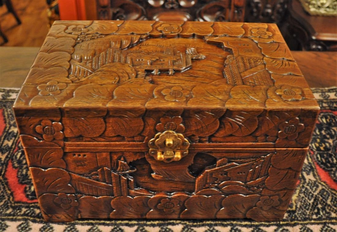 Asian hand carved wooden box