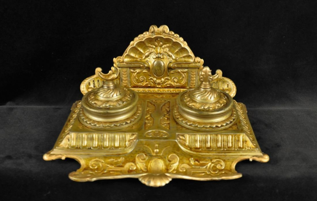 Hand painted decorative metal inkwell