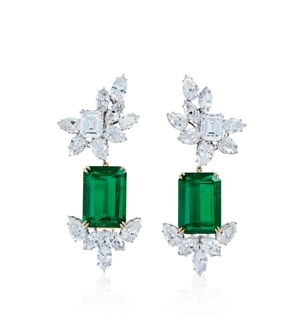 A Magnificent Pair of Colombian Emerald and Diamond Ear