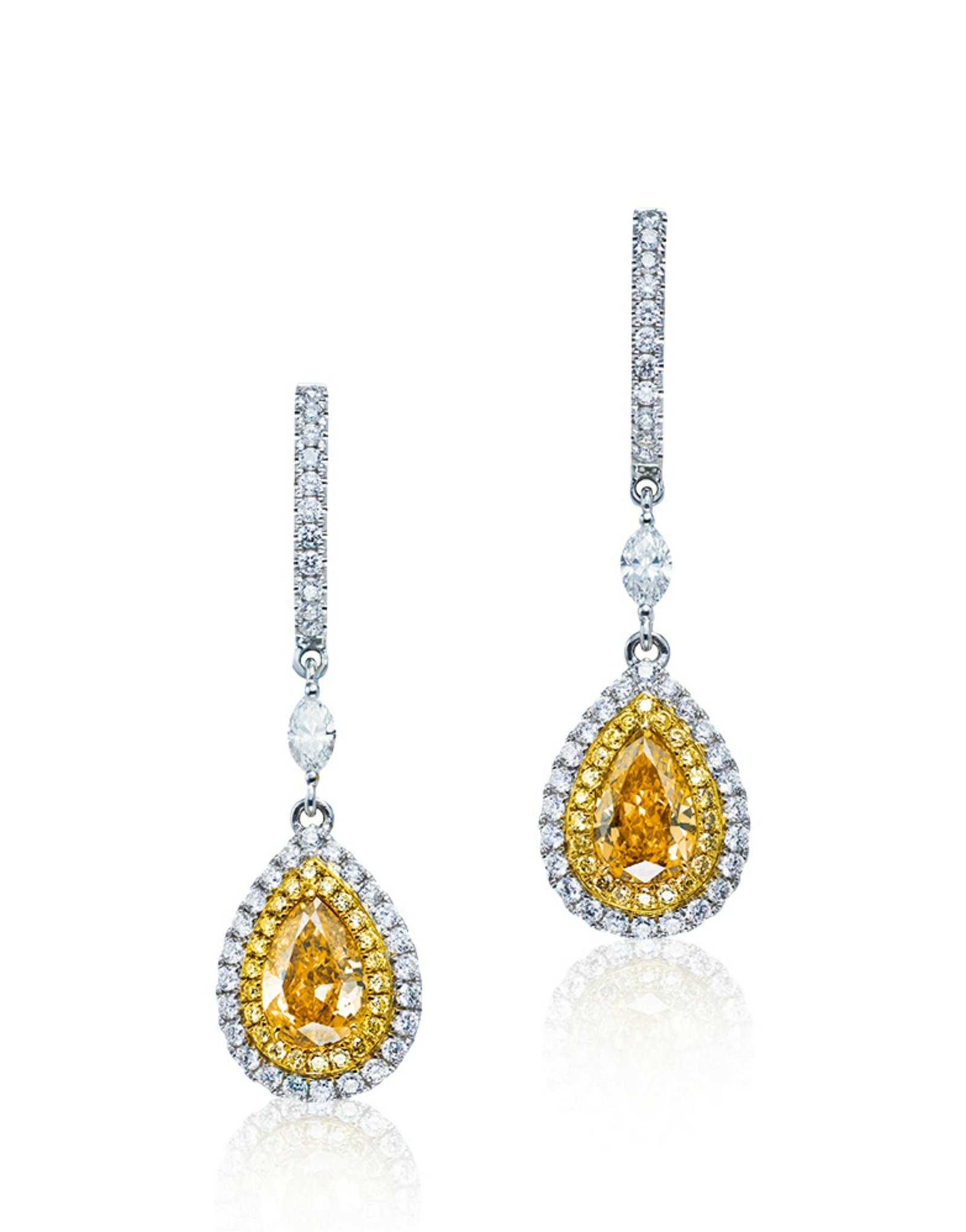 A Pair of 1.08 and 1.00 Carat Fancy Vivid Orangy Yellow