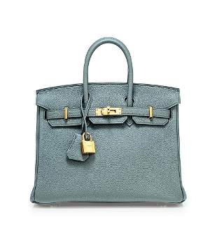 Hermes 2019 A Vert Amande Togo Leather Birkin 25 with