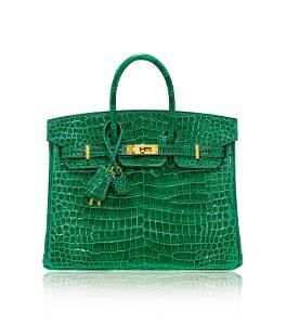 Hermes 2019 Rare Shiny Emerald Porosus Crocodile Birkin