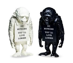 BANKSY Monkey Sign (White & Reverse Ver.), 2019