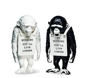 BANKSY (British, B. 1975) Monkey Sign (White & Black),