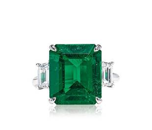A 6.14 Carat Colombian Emerald and Diamond Ring, No