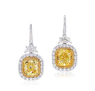 A Pair of 3.65 and 3.53 Carat Fancy Intense Yellow