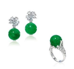 A Set of Jadeite and Diamond Jewelry