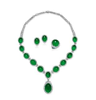 An Important Set of Jadeite and Diamond Jewelry