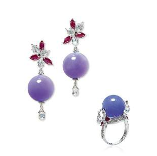 A Set of Lavender Jadeite, Diamond and Ruby Jewelry