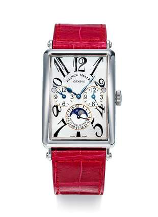 A White Gold Rectangular Curved 3 Time Zone Watch