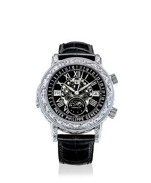 A White Gold Astronomical Mechanical Wristwatch