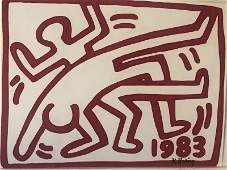 K. Haring Drawing Sign and Stamp on Verso