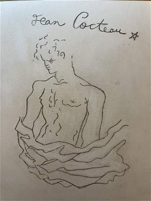 In the style of Jean Cocteau Drawing on Paper.