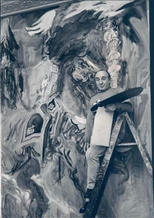 1966 Gelatin Silver Photo Artist Painter Ladder Wall