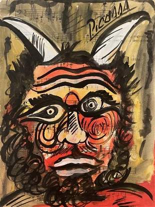 Mixed Media Pablo Picasso Drawing (In The Style Of)