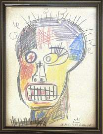 MICHEL BASQUIAT ABSTRACT DRAWING (In Style Of)