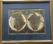 VINTAGE GOLD FOIL 1630 ANTIQUE WORLD MAP