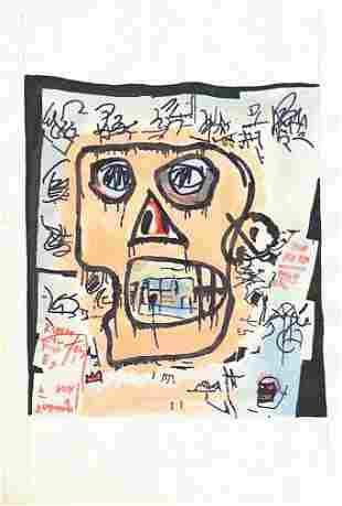 Mixed Media Basquiat on Paper (In Style Of)