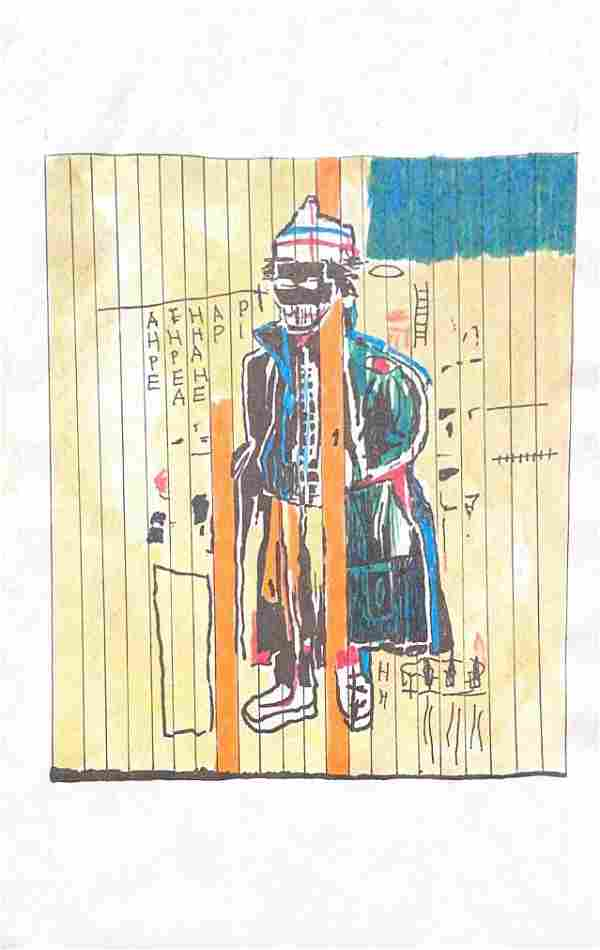 Media Basquiat on Paper (In Style Of)