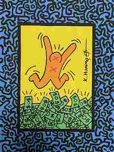 Keith Haring Drawing Pop Art and Watercolor (In Style)