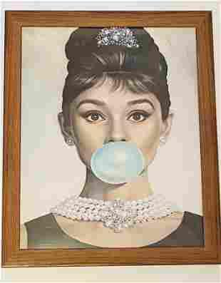 Audrey Hepburn Bubble Gum Canvas Print