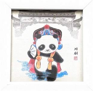 Asian Inspired Framed Panda -Silk Fabric