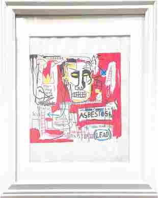 Basquiat Mixed Media Drawing (In Style Of)