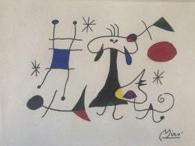 Miro Signed Abstract Drawing