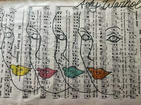 Framed Music Sheet/Paper- Keith Haring