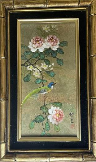 Chinese Bird & Floral Gouache Watercolor Painting