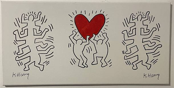Keith Haring Drawing Pop Art on Canvas
