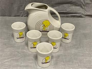 Tweety Bird Fiestaware Pitcher and glass set