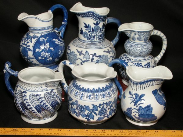 6: Canton Collection - Blue & White  Water Pitchers, 6