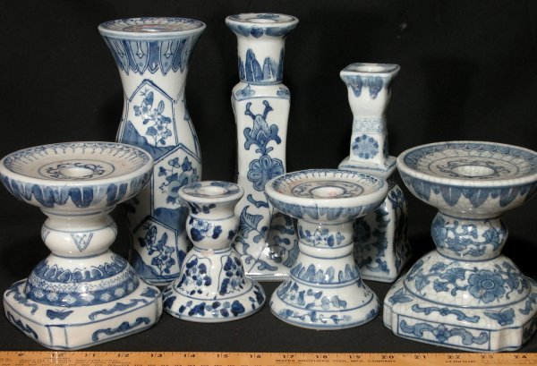 8: Ceramic Candle Holders - Blue & White