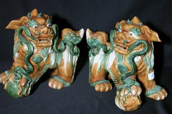 12: Ceramic Foo Dogs - Pair - Fu Dogs