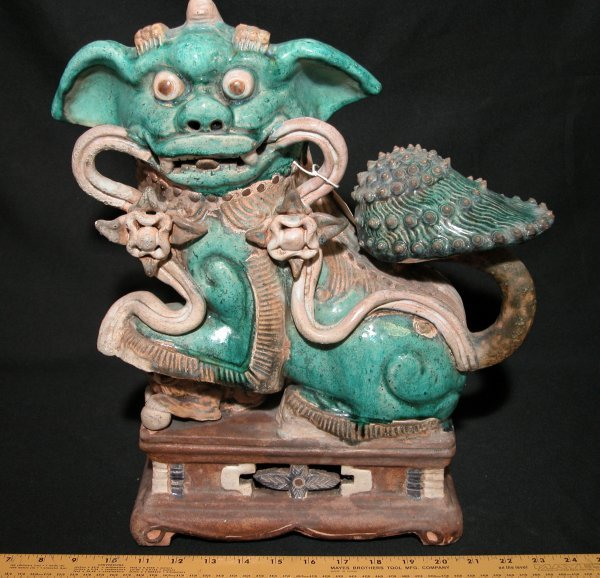 13: Antique 19th Cent Ceramic Foo Dog - Fu Dog