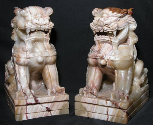 18: Alabaster Stone carved Foo Dogs - Pair Fu Dogs