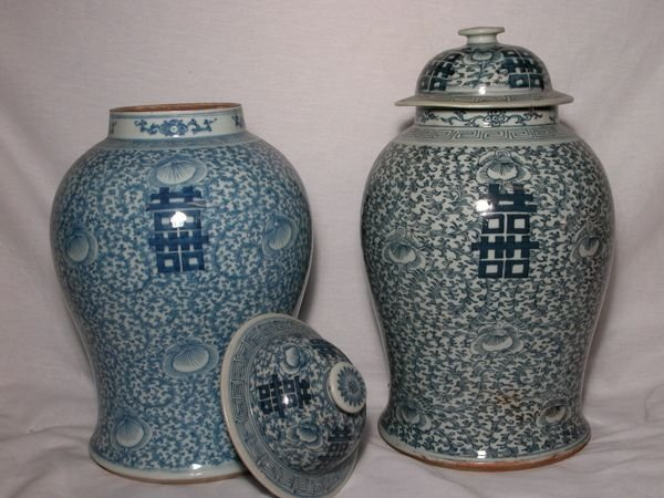 703: Antique Chinese Happiness Melon (Ginger) Jars,pair