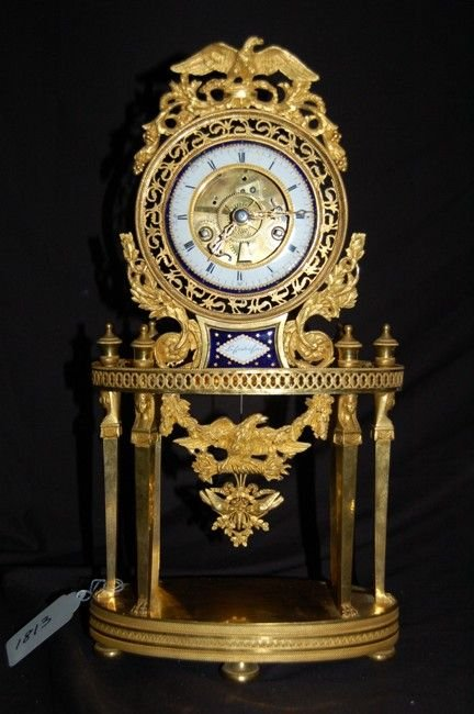 708: French Antique Gilded Bronze Clock