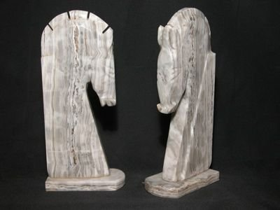 710: Pair of Marble Horsehead Bookends/Statues