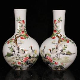 A Pair of Qing Dynasty Enamel Globular Vases