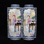 A Pair of Qing Dynasty Famille-Rose Square Vases