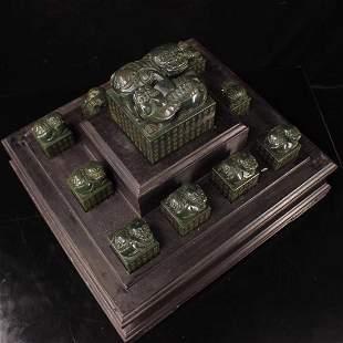 A  nice Set of Qing Dynasty Hetian jade handmade