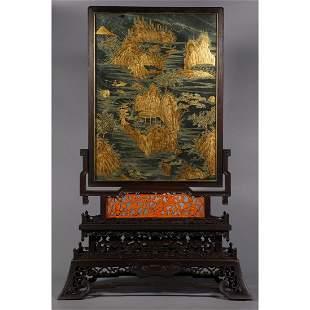 Qing Dynasty Hetian jade gilt table screen,zitan wood