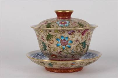 Old stock,Qing Dynasty Famille-rose tea cup,painted