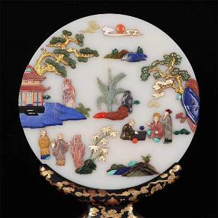 Old stock,Late Qing Dynasty hetian jade table