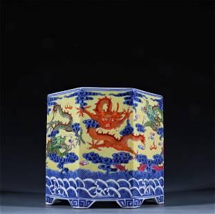 Old stock,blue and white Jiacai brush pot