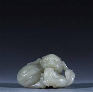 hetian jade ornament,carved beasts